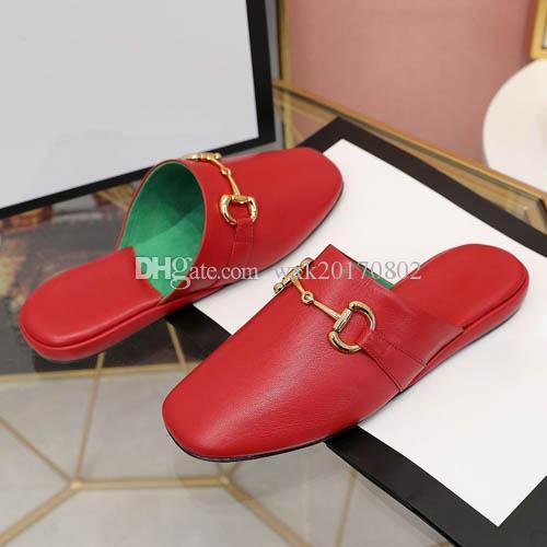 Klassische Sandalen Schnalle aus Metall Leder Flacher Bottom Beach Hausschuhe Designer Luxus Frauen Große Größe 35-41