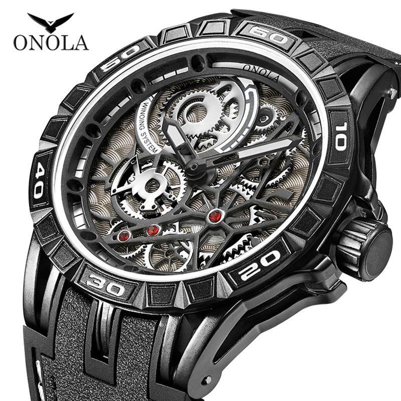 ONOLA 브랜드 멋진 모든 블랙 시계 젊은 남성, 남성 패션 캐주얼 스포츠 고유은 남성 시계 일본 운동 군 다이얼 시계 석영