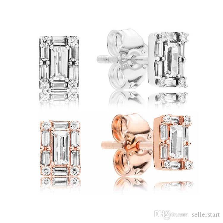 New fashion temperament earrings for Pandora 925 sterling silver plated rose gold CZ diamond jewelry with box ladies earrings holiday gift