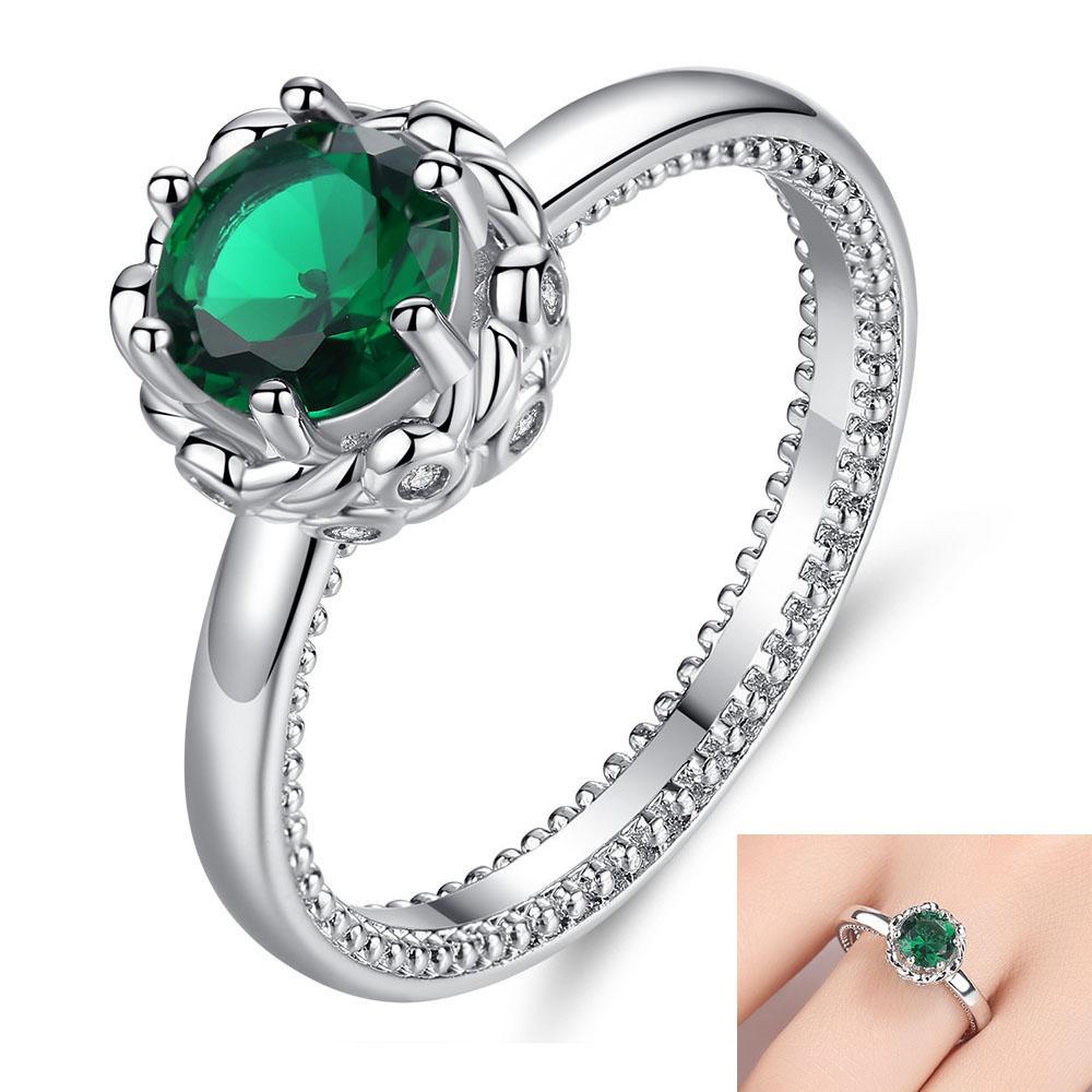 2020 зеленый камень кристалл цвета кольца Цирконом обручальное кольцо Большой кристалл женщина кольцо аксессуары ювелирные изделия