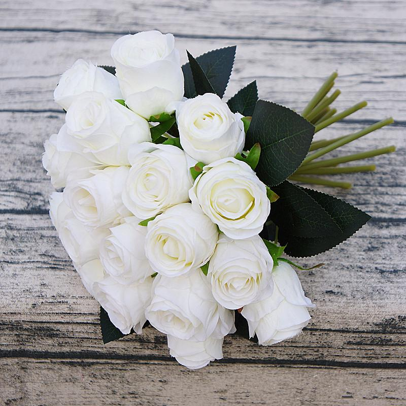 18Heads Искусственных цветы невеста ручного букет DIY свадебного Rose Bud Heads Поддельные розы Главная Таблица украшение