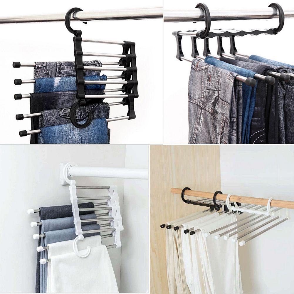 Heiße Multifunktionshosen-Gestell-Regale 5 in 1 Edelstahl-Garderoben-Magie-Aufhänger sparen Raum Neues Produkt