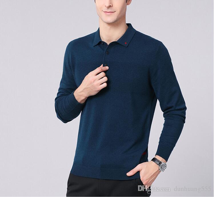 2019 Polo Shirt Hommes À Manches Longues Blusas Couleur Unie Marque De Mode Slim Fit Shirt Hommes Coton polo Chemises