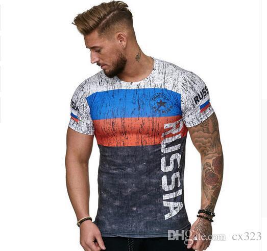 2019 Yaz Rus bayrağı erkek rahat moda T-shirt yuvarlak boyun serin ve hafif adamın T-shirt