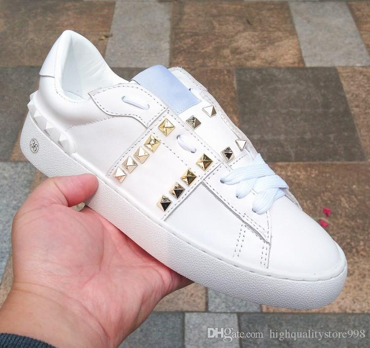 as últimas sapatas das mulheres 78ss couro genuíno Moda Branca mulheres sapatos baixos Casual esportes Qualidade Confortável respirável Sneakes