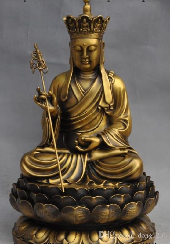 중국어 불교 사원 황동 당나라 셍 산 ZANG 지장 보살 스님 부처님 동상