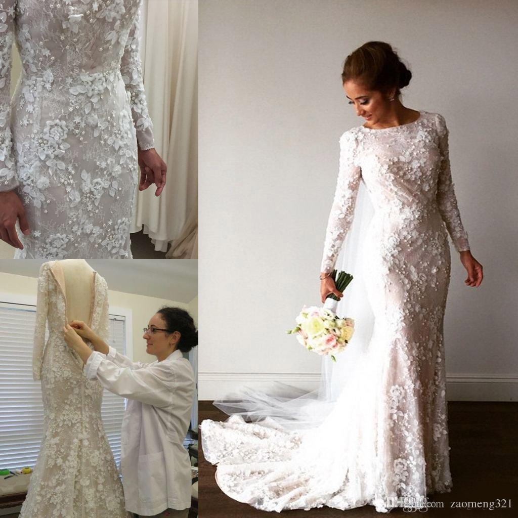 Vintage Mermaid Arabic Beige Ivory Lace Wedding Dresses Long Sleeves 3D Floral Applique Pearls Muslim Bridal Gowns Sweep Train Bride Dress
