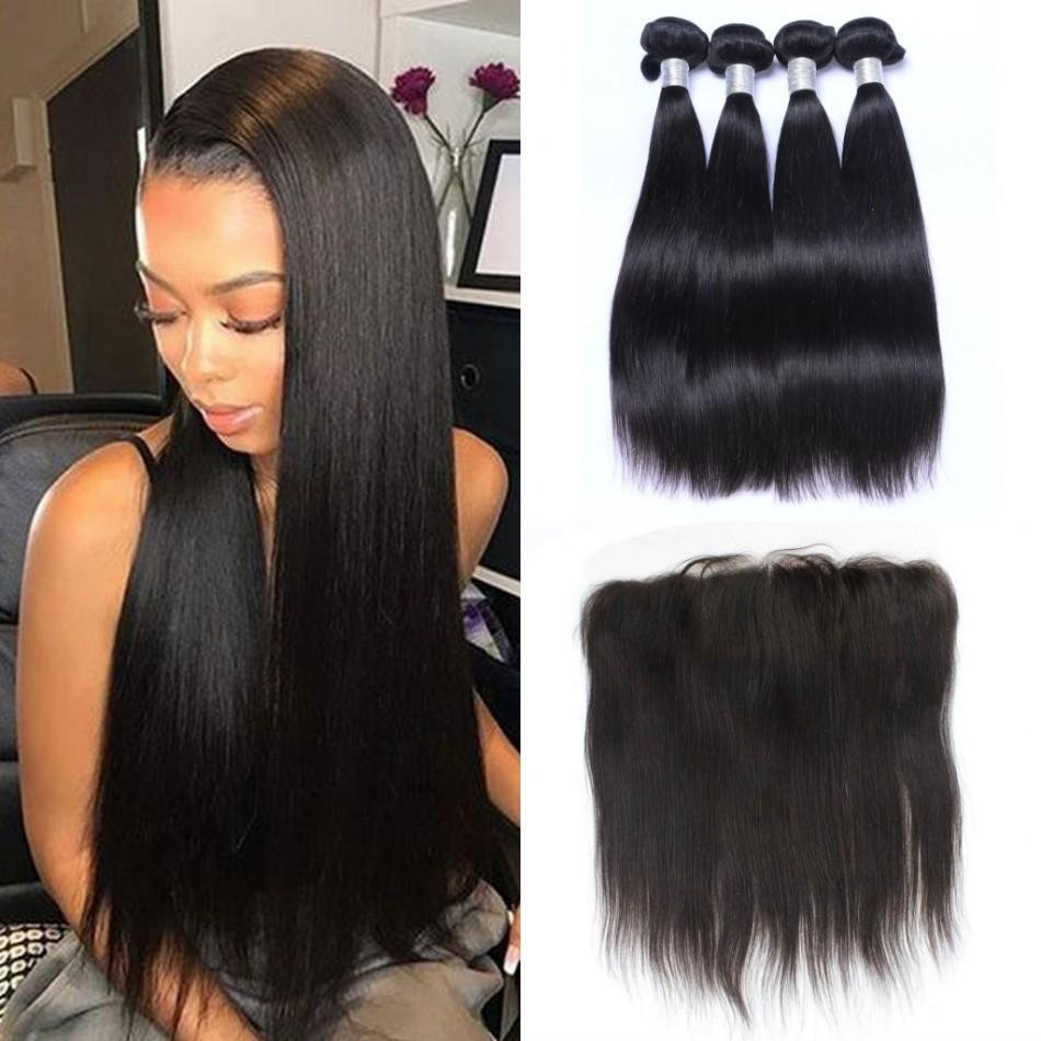 Indian Straight Hair Bundles with Lace Frontal Virgin Human Hair Weave 4 Bundles with Frontal Closure Pre Plucked