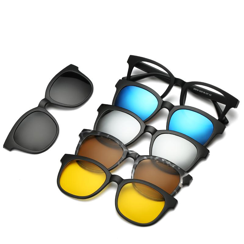 5 lenes Magnet Sunglasses Clip Mirrored Clip on Sunglasses clip on glasses Men Polarized Clips Personalizzato Prescrizione Miopia