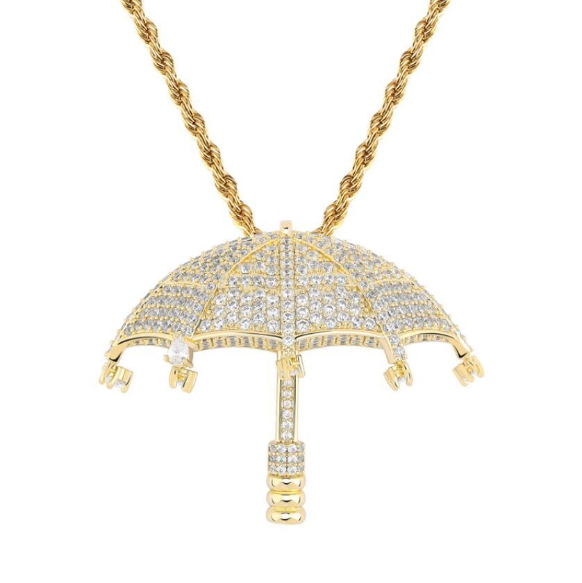 erkekler altın alaşım yapay elmas lüks Küba zincir moda jewelr için hip hop Şemsiye Zirkon kolye kolye