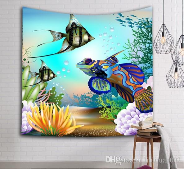 Exportación caliente murales decorativos colgantes de tela serie Océano Tapiz Delfín pintura de pared de coral 150x102 cm