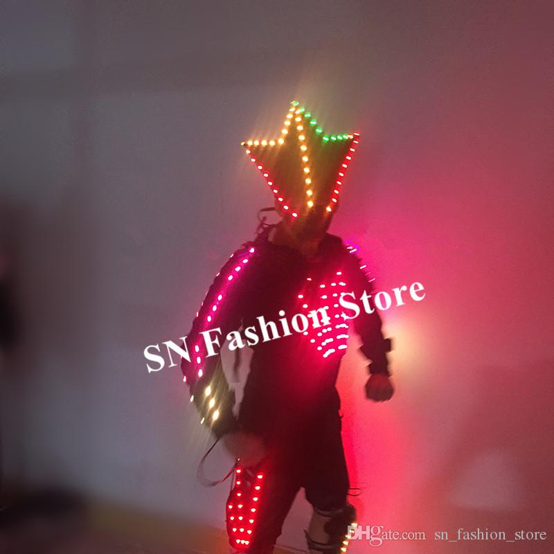 M18 Colorful led light costumes luminous robot men suit dj mask stage wears performance clothing armor bar outfits dress party show costumes