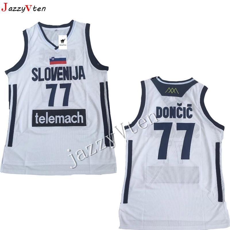 뜨거운 판매 자수 Mens # 7 Doncic 저지 Throwback 농구 저지 slovenija 팀 Retro Stitched Shirts 유럽 77 # College Luka JERSEY