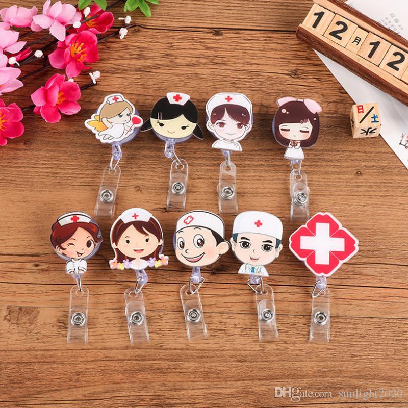 جديدة الطبيب ممرضة الرسوم المتحركة لطيف الأزياء الكورية سهلة لسحب تصريح عمل شارة كليب شهادة تلسكوبي مشبك شارة كليب