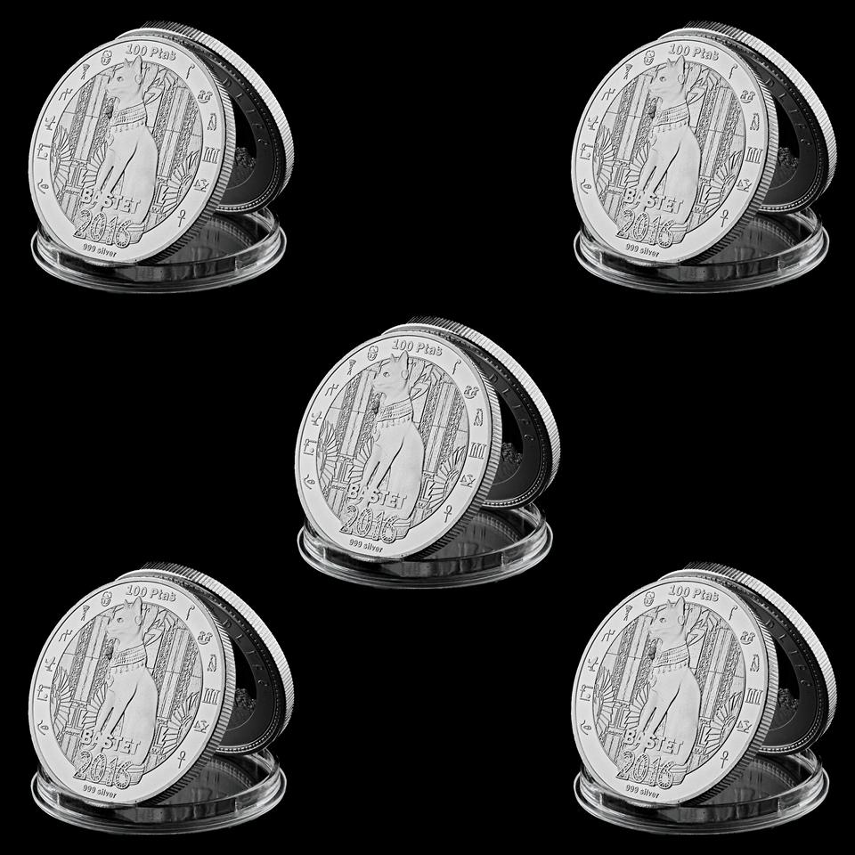 5pcs 2016 Egyptian Mythology Cat God Bastet Coin With Silver Plated 1oz Commemorative Coin Home Decor