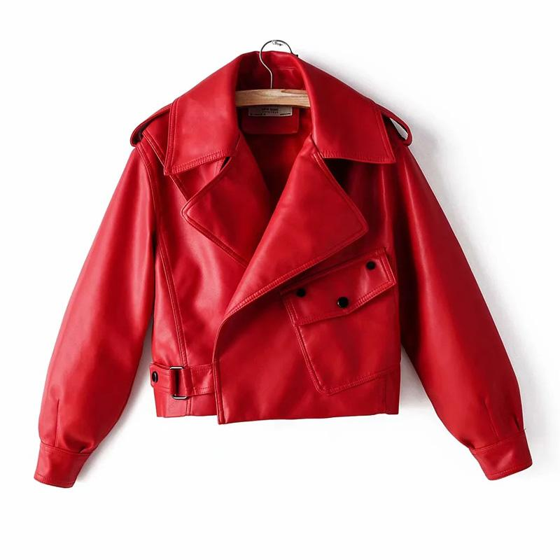 Women's Leather & Faux Black Red Women Jacket Pu Motorcycle Biker Coat Turn Down Collar Soft Ladies Punk Outerwear Loose Streetwear