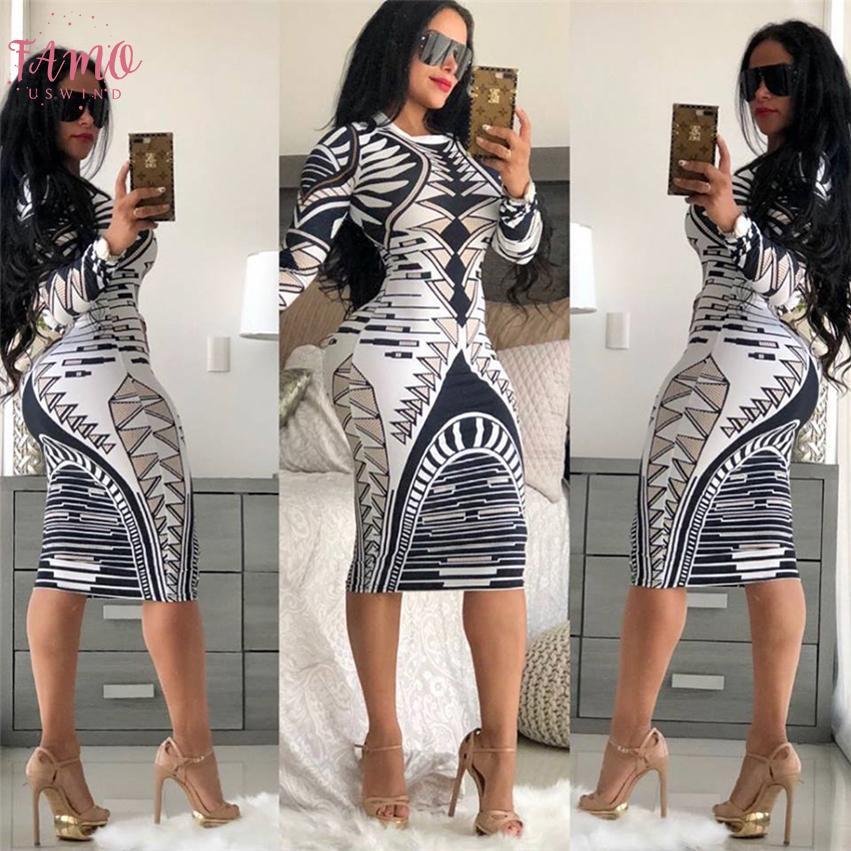 Печать Новинка Бандаж Bodycon Платье Женщины С Длинным Рукавом Длиной До Колен Повседневное Платье Элегантный Тонкий Миди Вечерние Платья Vestidos