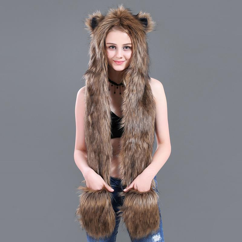 Chapeau en fausse fourrure de femmes écharpe Coquilles poches 2019 Hiver chaud Motif doux léopard animal en peluche Gants Oreillettes longues écharpes