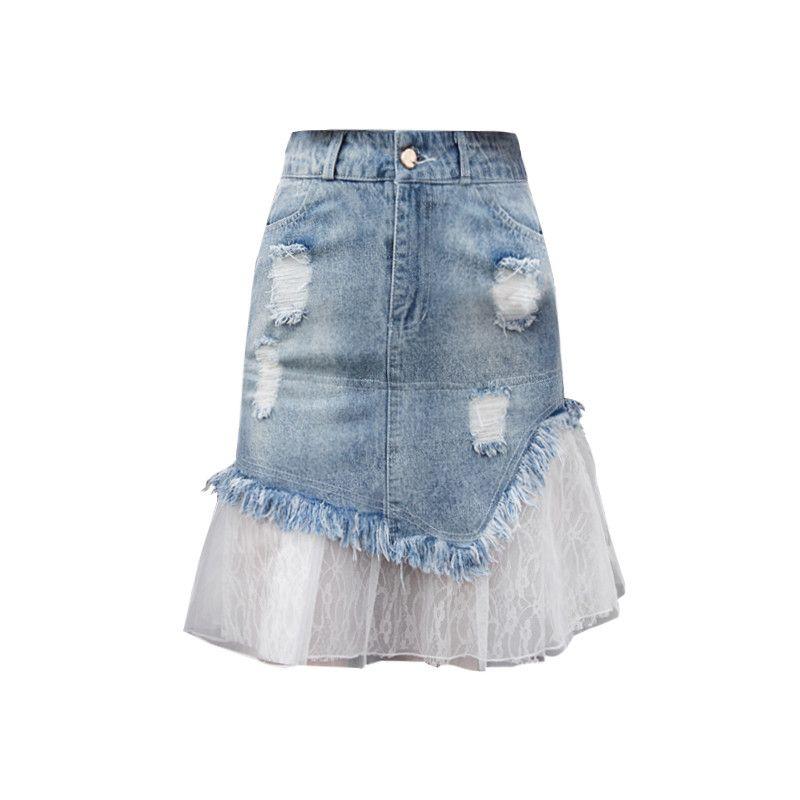 Plus Size Buraco malha Patchwork Denim Saias Mulheres Verão cintura alta A Linha Fishtail falda mujer moda 2019 Saias Jeans Saia f514