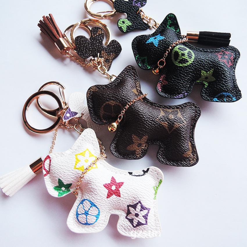 Bolso de lujo encantos llaveros de llavero cuero schnauzer nueva moda diseñador llavero accesorios animal colgante de dibujos animados perro llaveros llaveros
