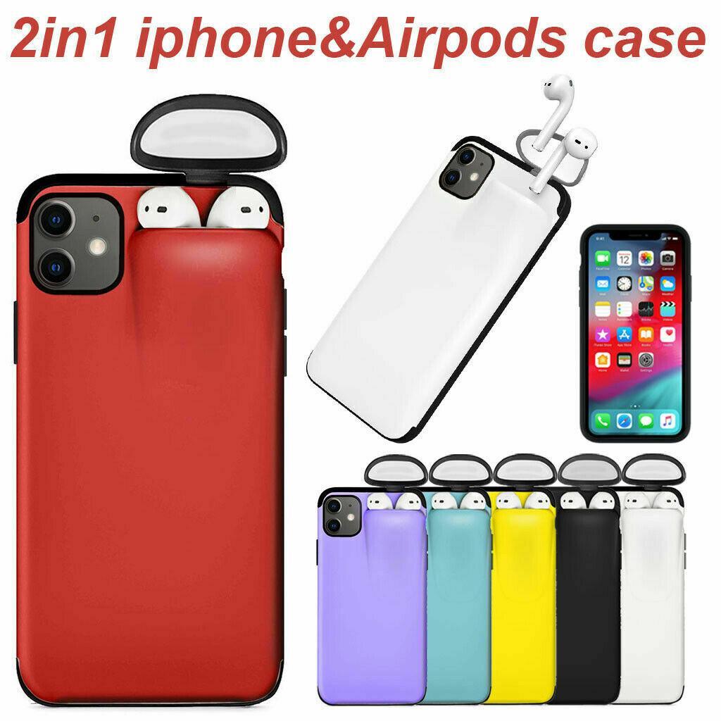 2in1 integrierte Unified Rüstung Multi-Funktions-Speicher-Box-Telefon-Kasten Apple-Airpods 2/1 Abdeckung für 11 iPhone Pro Max XS XR X 8