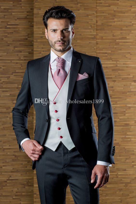 Navy Blue Wedding Tuxedos Slim Fit Suits For Men Groomsmen Suit Three Pieces Cheap Prom Formal Suits (Jacket +Pants+Vest+Tie)NO:881