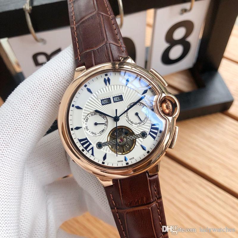 Классические многофункциональные часы с дизайном на маховике Автоматические механические механизмы Корпус из нержавеющей стали 316 Повседневный кожаный ремешок Роскошные мужские часы