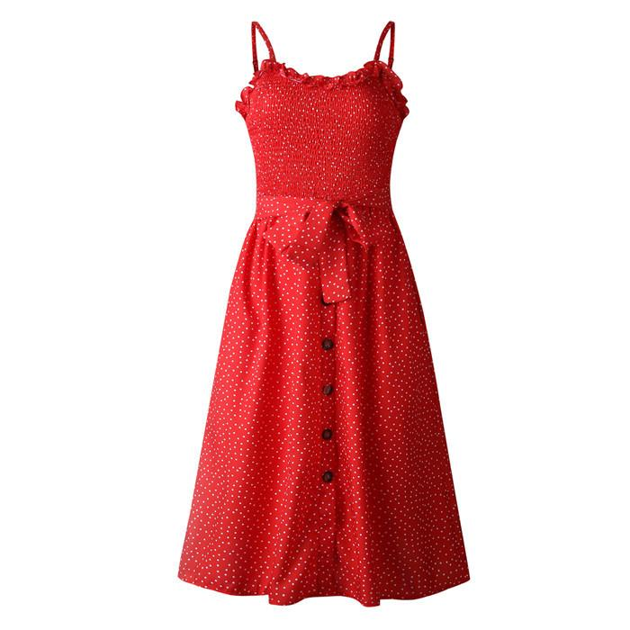 Les femmes Robes d'été dames Polka Dot Imprimer Sleevelss Sexy Robe Spaghetti Strap Robe Femme Mode Vêtements décontractés
