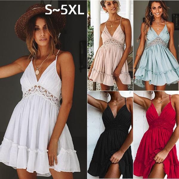 5XL Artı Ölçekli Bayan Elbise Giyim Bayan Abiye Seksi Dantel Halter Backless Suspender Etek Yaz Yelek Pembe Gece Kulübü Parti Elbise