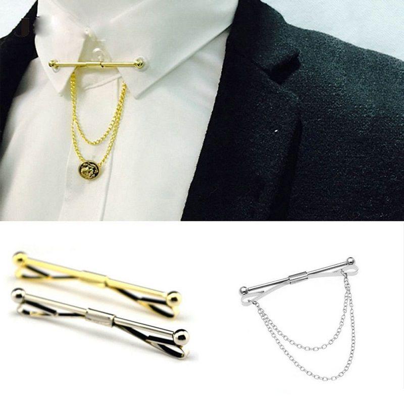 남자 세련된 셔츠 넥타이 칼라 클립 바 핀 클립 체인 타이 브로치 넥타이 실버 일반 금속 프랑스 넥타이 클립 보석 크리스마스 선물