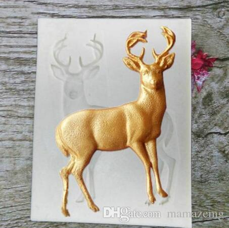 HOT Sales!!! Wholesales Free shipping 3D Buck Deer Elk Fondant Silicone Cake Mould Cake Decor Sugar Chocolate Animal Molds
