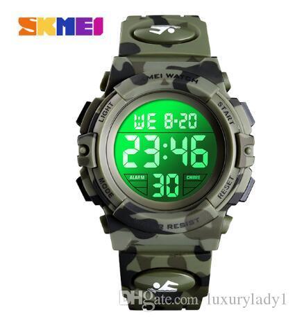 Военные Дети Спортивные часы 50M Водонепроницаемый Электронные наручные часы секундомер часы Детские цифровые часы для мальчиков девочек