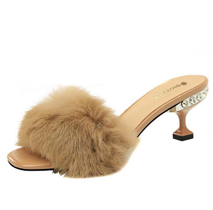 Fashion Elegant Women Slippers With Rabbit Fur Crystal high-heeled Women Sandals Luxury Design Elegant Shoe Free Shipping