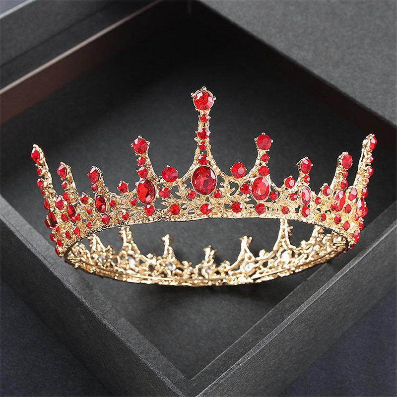 Gold Color Wedding Crown Queen Tiaras And Crowns Headband Prom Dinner Diadem Pincess Hair Accessories Head Jewelry J 190430