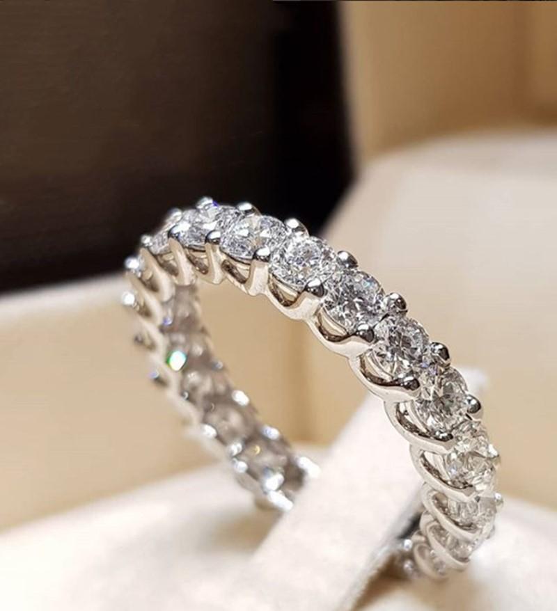 İnce Tek Sıra Yüzük İçin Kadınlar Tam Eternity nişan yüzüğü Gelin Bant ewelry