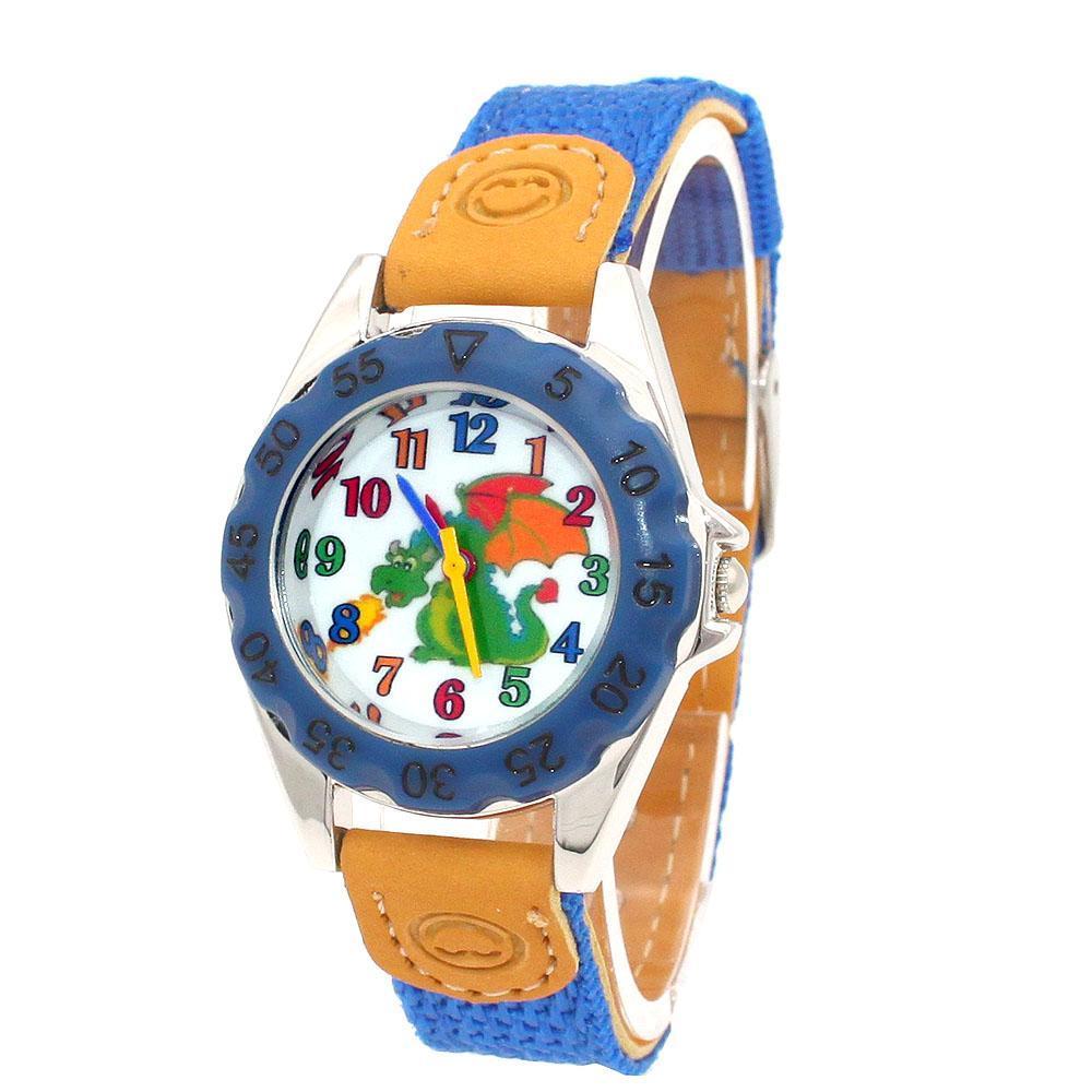Alta calidad relojes de los niños del reloj azul los niños de regalo de los niños Niño Niña correa de la tela aprenden decir tiempo Estudiante Reloj U86A qAMds