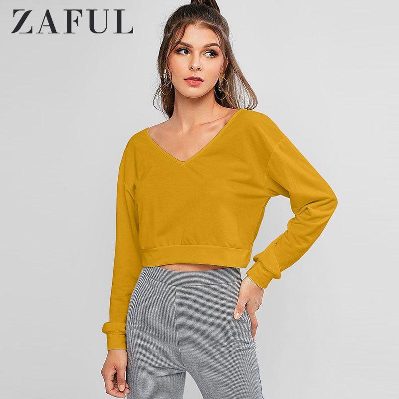 ZAFUL Women Twist Back V Neck Pullover Sweatshirt Female Long Sleeve Pullovers Open Back Twist Sexy Solid Causal Sweatshirt