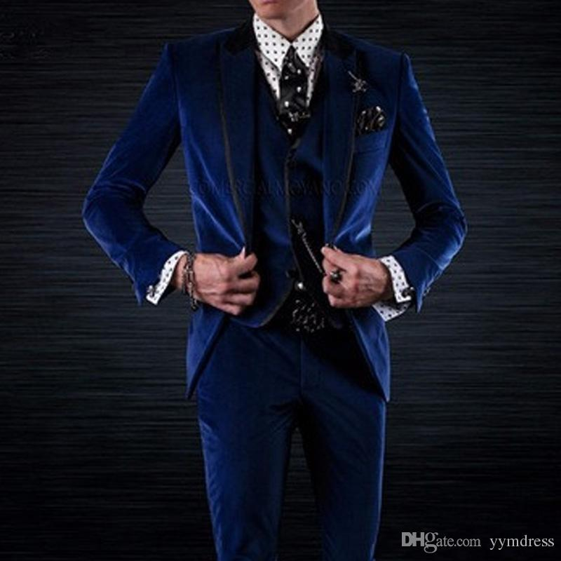 Royal Blue Wedding Tuxedos 2019 For Groom Three Piece Jacket Pants Vest Black Peaked Lapel Custom Made Party Men Suits