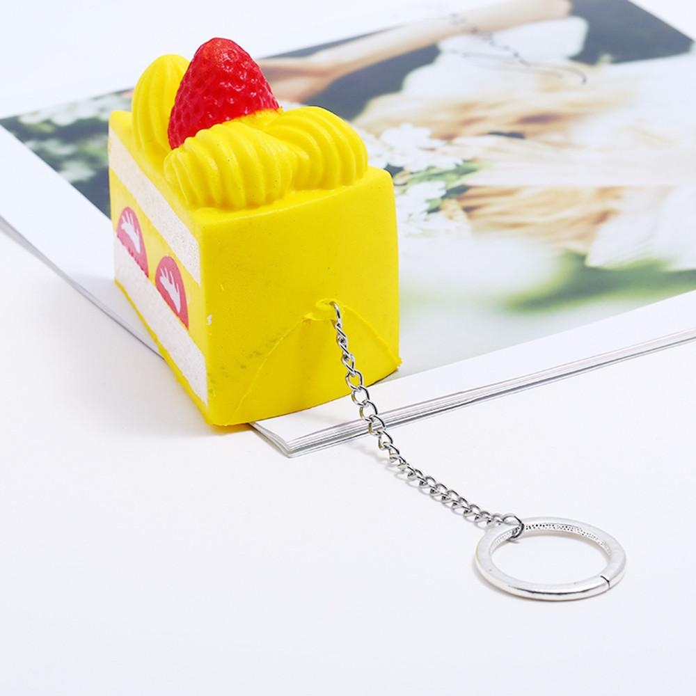 simulation mignon fraise gâteau super lente surélévation parfumée Jouet Soulager le stress Keychain Stress Relief cadeau drôle Jouet L1224