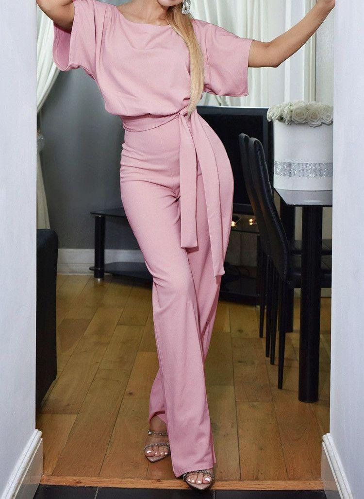 Mulheres verão Sólida Solta Macacão O Pescoço de Manga Curta Elegante macacões Calças Compridas Casuais Bodysuit Macacão Plus Size Vestuário