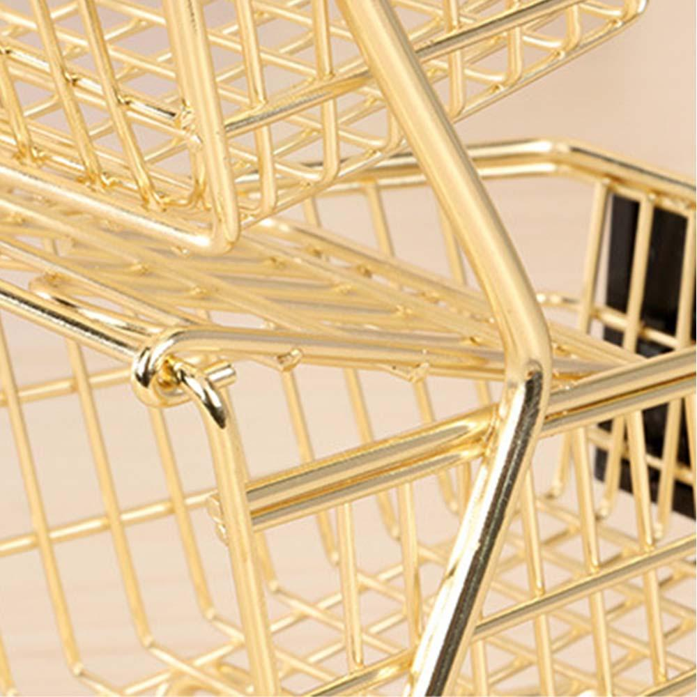 Groceries Toys Mini Double Layers Shopping Cart Model Wrought Iron Supermarket Trolley Metal Rose Gold Storage Basket
