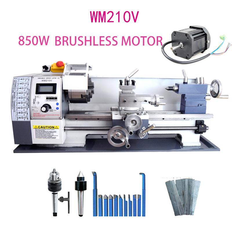 WM210V Metal Torna / 850 W Fırçasız Motor Tüm Çelik Dişli Torna / 38mm Mil Delik Delik + 125mm Chuck Mini Torna Makinesi