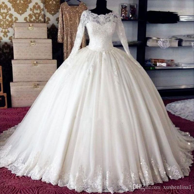 a few days away best price cost charm White Tulle Long Sleeves Wedding Ball Gown Puffy Princess Bride Maxi  Dresses Within Petticoat Custom Made High Quality Bridal Ball Dress  Alternative ...