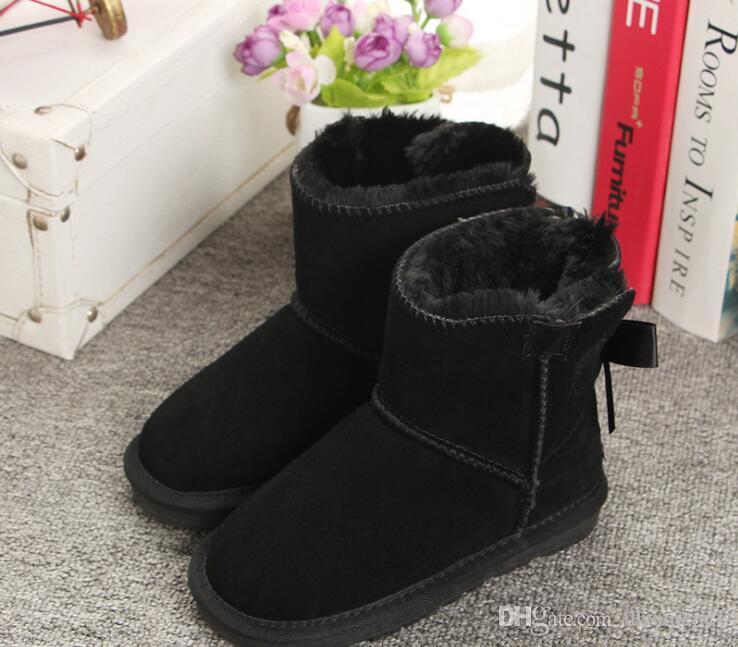 Классические классические детские зимние ботинки модные с бантом кожаные ботинки для мальчиков и девочек зимние теплые зимние ботинки 5062 размер 20-35