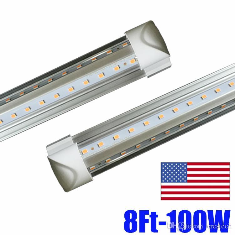 V-Shaped 4ft 5ft 6ft 8ft 36w 72w Led Tubes T8 Integrated Led Tubes Double Sides SMD2835 Led Fluorescent Lights AC 85-265V UL DLC Crestech