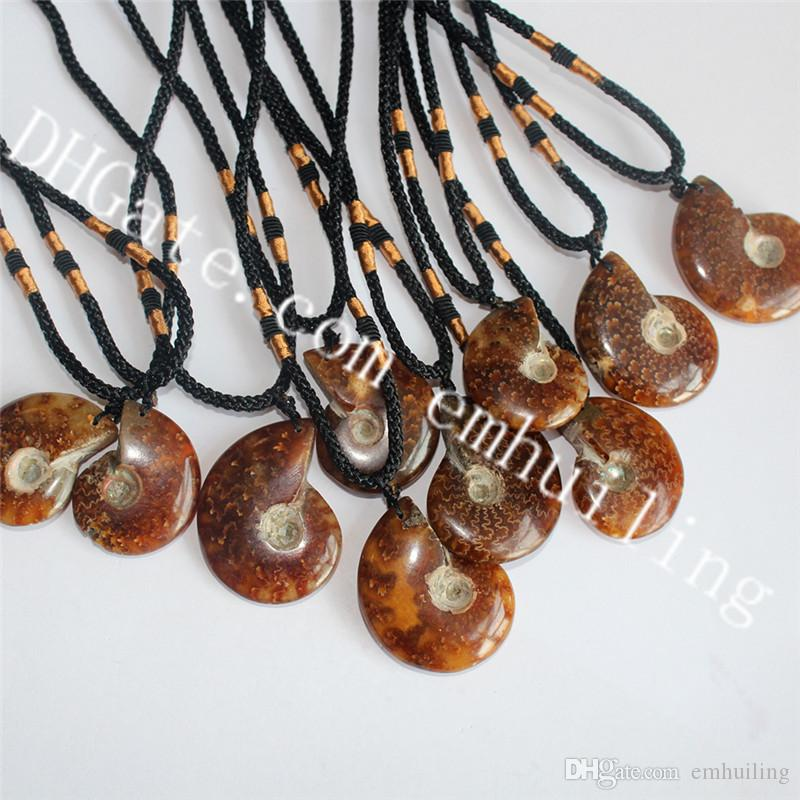 10Pcs Mens Genuine Ammonite Fossil Necklace Earthy Bown Natural Prehistoric Relic Seashell Snail Fern Talisman Pendant Necklace Science Gift