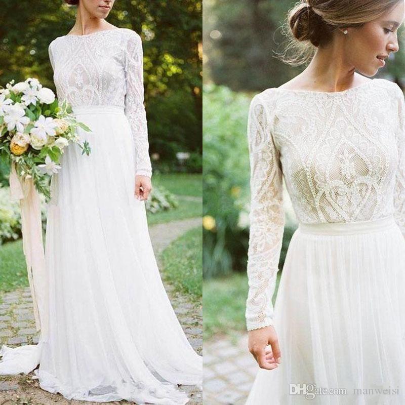Белые простые богемные страны Свадебные платья с длинными рукавами Bateau Hee в линейке кружевной аппликации шифон Boho Bridal Plass