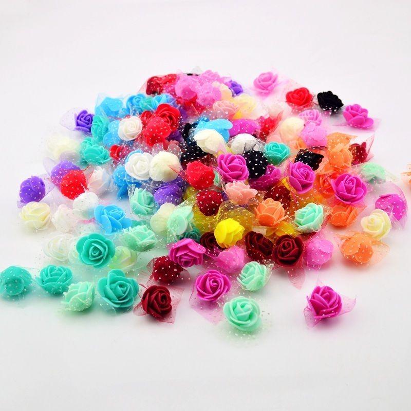 50PCS/BAG Artificial Flower Head Handmade DIY Wedding Home Decoration Multi-use Lace PE Foam Rose Party Supplies D19011101