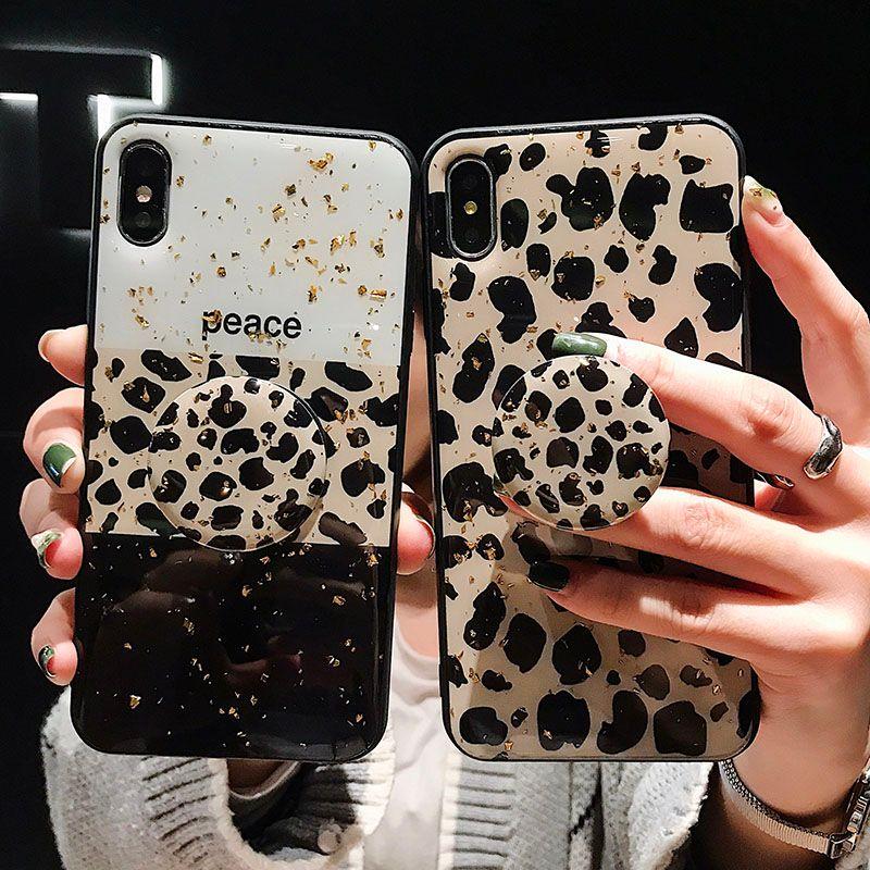 Tek Parça telefon kapak Lüks moda leopar baskı telefon kılıfı Kickstand kılıfları IPhone 8 Için IPhone X