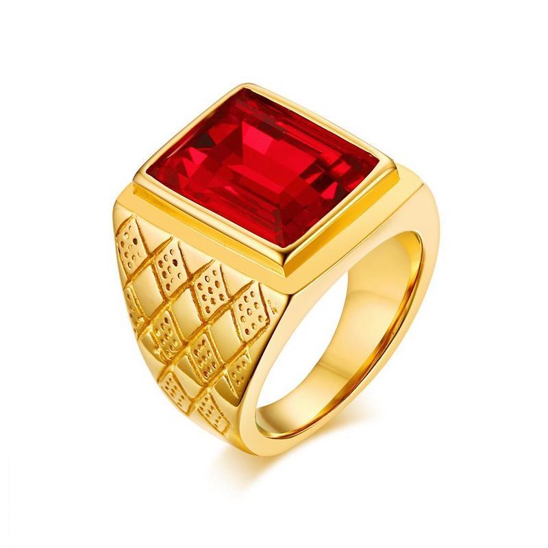 Anelli di fidanzamento con rombi in acciaio inossidabile color oro